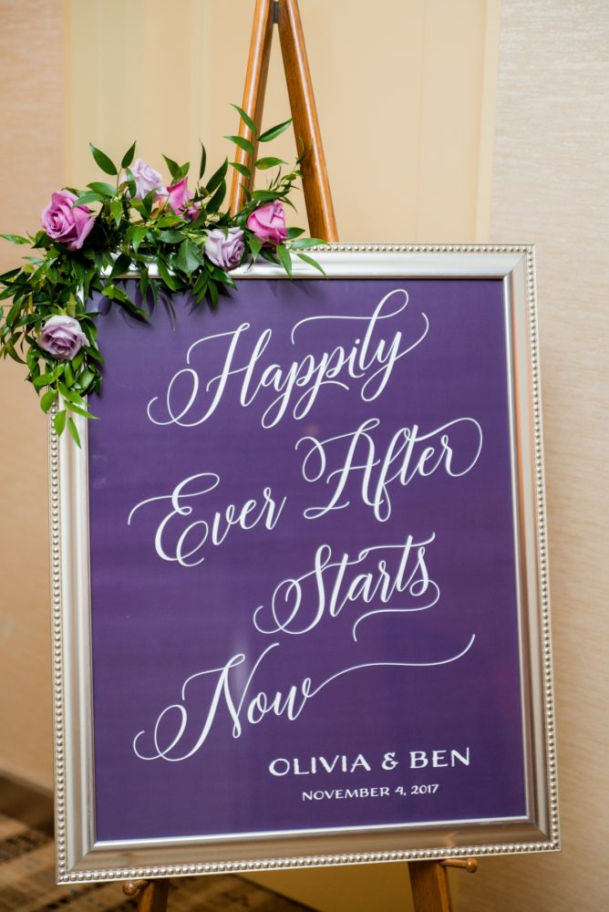 Wedding Welcome Signs: Contemporary Purple & Silver Wedding at the Fairmont Pittsburgh Hotel from Leeann Marie Wedding Photographers featured on Burgh Brides