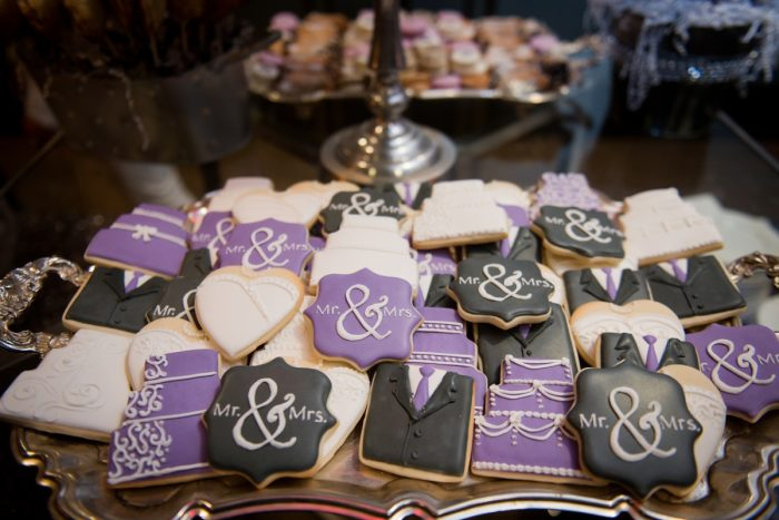 Custom Wedding Cookies: Contemporary Purple & Silver Wedding at the Fairmont Pittsburgh Hotel from Leeann Marie Wedding Photographers featured on Burgh Brides