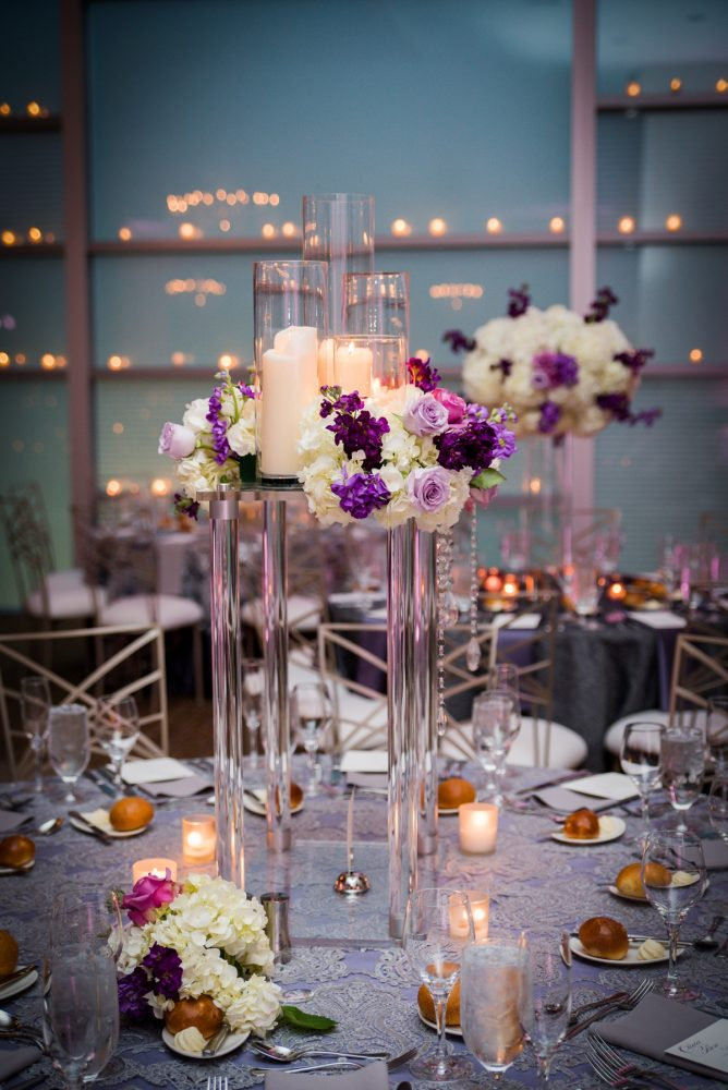 Contemporary Wedding Centerpieces: Contemporary Purple & Silver Wedding at the Fairmont Pittsburgh Hotel from Leeann Marie Wedding Photographers featured on Burgh Brides