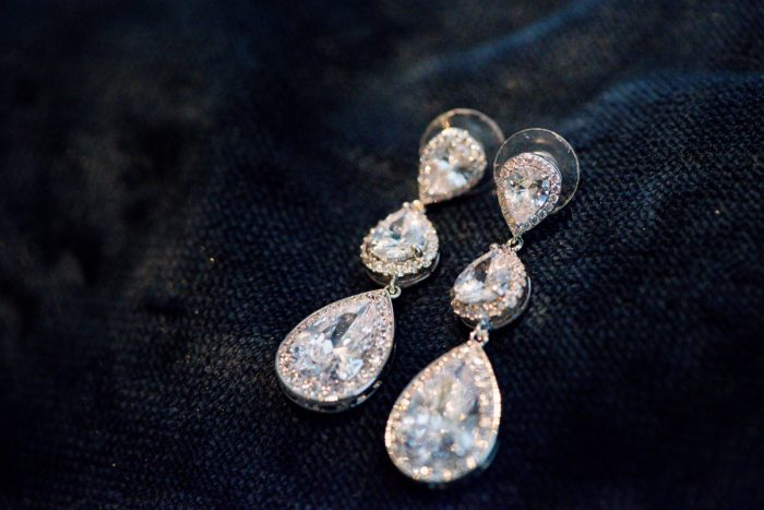 Rhinestone Drop Earrings for Bride on Wedding Day: Lavish City Wedding from Poppy Events & Leeann Marie, Wedding Photographers featured on Burgh Brides