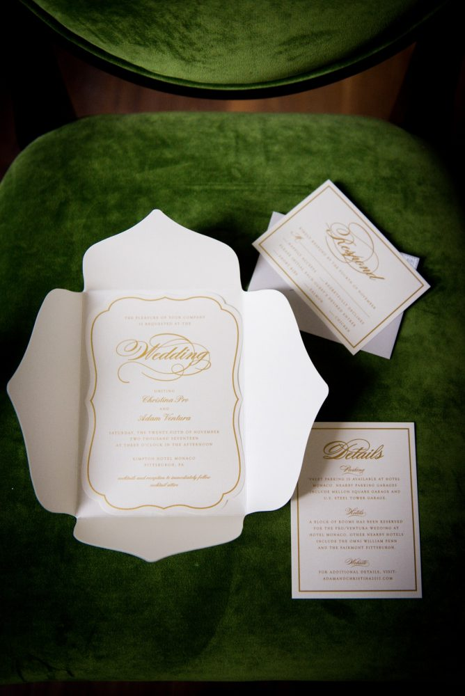 Ivory & Gold Wedding Invitations: Lavish City Wedding from Poppy Events & Leeann Marie, Wedding Photographers featured on Burgh Brides