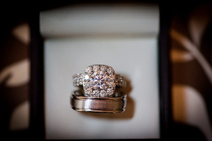 Square Shaped Diamond Engagement Ring in Halo Setting: Lavish City Wedding from Poppy Events & Leeann Marie, Wedding Photographers featured on Burgh Brides