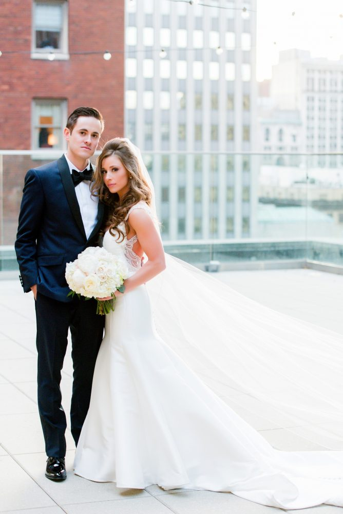 Rooftop Wedding Photos of Bride and Groom: Lavish City Wedding from Poppy Events & Leeann Marie, Wedding Photographers featured on Burgh Brides