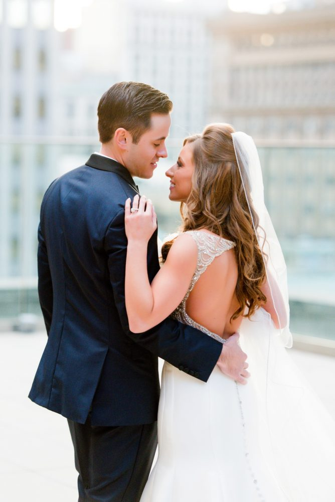 Beaded Open Back Wedding Dress: Lavish City Wedding from Poppy Events & Leeann Marie, Wedding Photographers featured on Burgh Brides