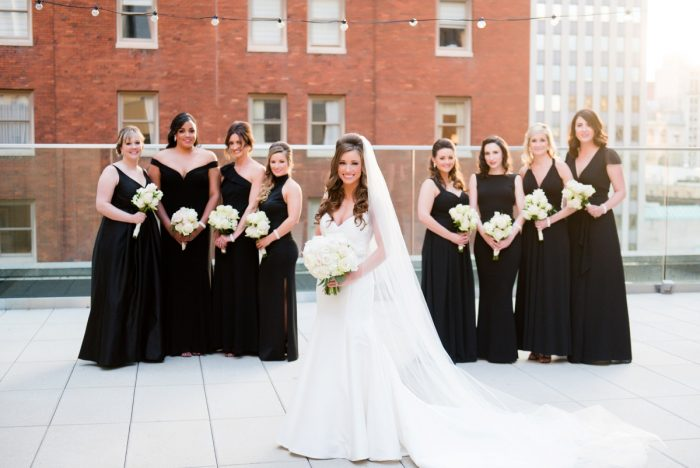 Black Bridesmaids Dresses: Lavish City Wedding from Poppy Events & Leeann Marie, Wedding Photographers featured on Burgh Brides