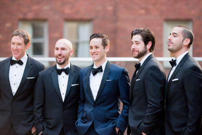 Navy Blue Tuxedo on Groom Wedding Day: Lavish City Wedding from Poppy Events & Leeann Marie, Wedding Photographers featured on Burgh Brides