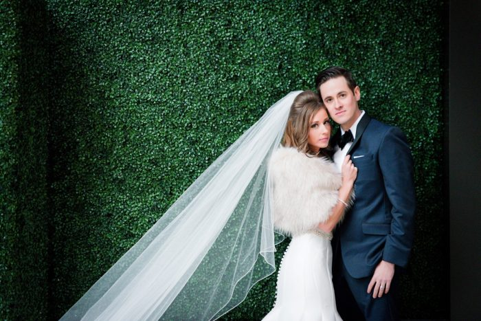 Faux Fur Wrap for Bride on Wedding Day: Lavish City Wedding from Poppy Events & Leeann Marie, Wedding Photographers featured on Burgh Brides