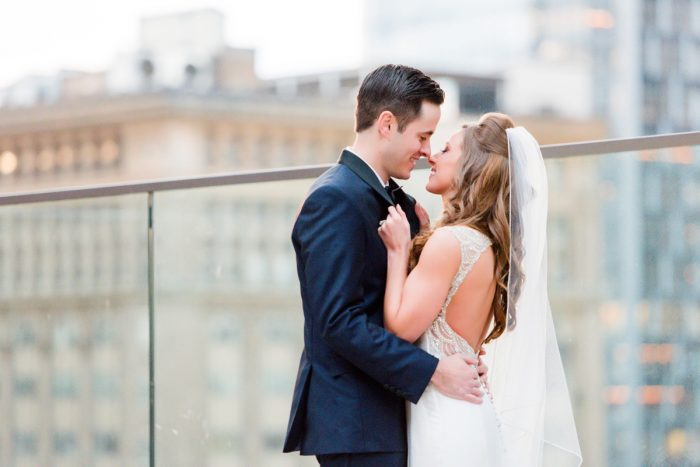 Rooftop Wedding Day Portraits Bride & Groom: Lavish City Wedding from Poppy Events & Leeann Marie, Wedding Photographers featured on Burgh Brides