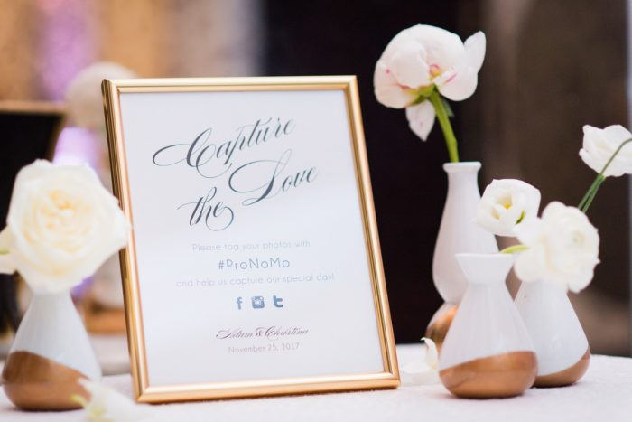 Gold Framed Wedding Signs: Lavish City Wedding from Poppy Events & Leeann Marie, Wedding Photographers featured on Burgh Brides