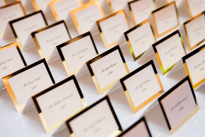 Gold Rimmed Wedding Escort Card Seating Display: Lavish City Wedding from Poppy Events & Leeann Marie, Wedding Photographers featured on Burgh Brides