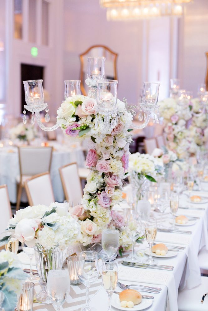 Candelabra Wedding Centerpieces: Lavish City Wedding from Poppy Events & Leeann Marie, Wedding Photographers featured on Burgh Brides