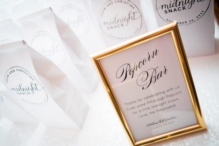 Wedding Popcorn Bar: Lavish City Wedding from Poppy Events & Leeann Marie, Wedding Photographers featured on Burgh Brides