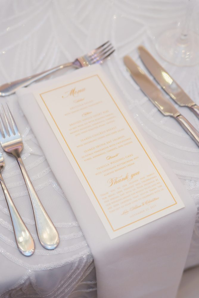 Wedding Menu Cards: Lavish City Wedding from Poppy Events & Leeann Marie, Wedding Photographers featured on Burgh Brides