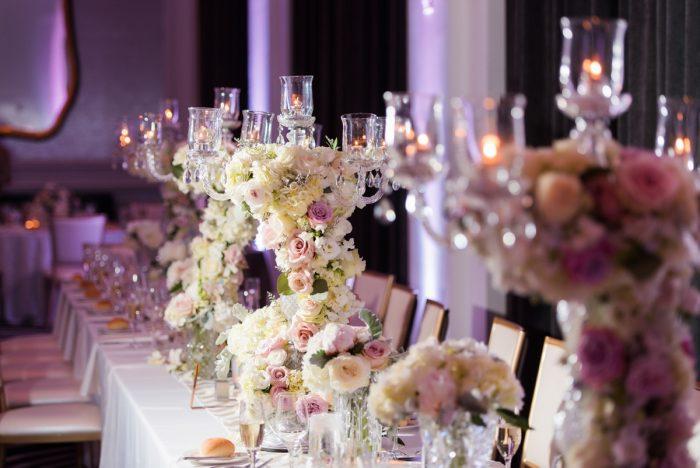 Candelabra Wedding Centerpieces: Lavish City Wedding from Poppy Events & Leeann Marie, Wedding Photographers featured on Burgh Brides