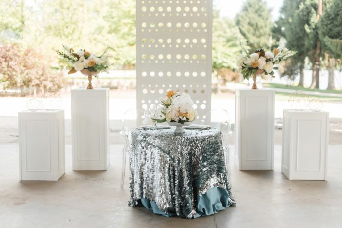 Sweetheart Table Ideas: Modern Minimalist Inspired Wedding Styled Shoot from JPC Event Group and Dawn Derbyshire Photography