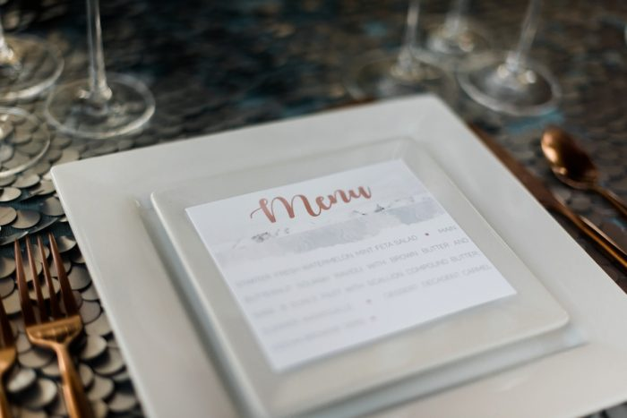 Wedding Menu Card Ideas: Modern Minimalist Inspired Wedding Styled Shoot from JPC Event Group and Dawn Derbyshire Photography