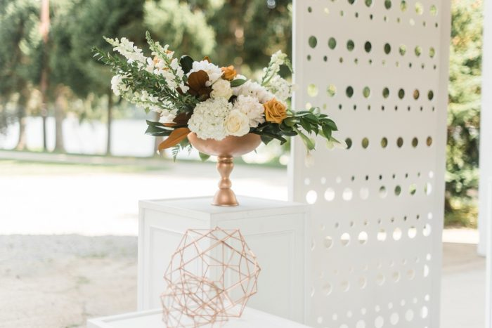 Asymmetrical White and Orange Flower Arrangements: Modern Minimalist Inspired Wedding Styled Shoot from JPC Event Group and Dawn Derbyshire Photography