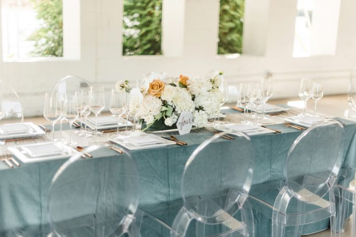 White and Blue Wedding Tablescape with Crystal Ghost Chairs: Modern Minimalist Inspired Wedding Styled Shoot from JPC Event Group and Dawn Derbyshire Photography