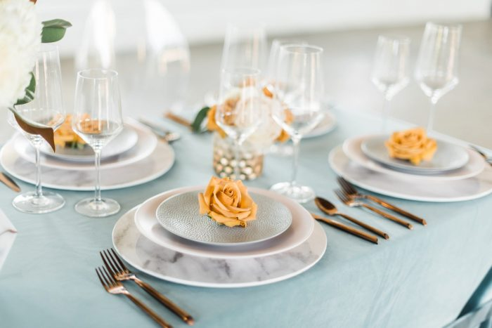 Orange and Blue Wedding Tablescape with Marble Details: Modern Minimalist Inspired Wedding Styled Shoot from JPC Event Group and Dawn Derbyshire Photography