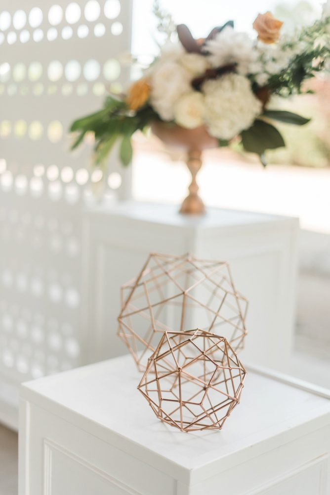 Gold Geometric Wedding Details: Modern Minimalist Inspired Wedding Styled Shoot from JPC Event Group and Dawn Derbyshire Photography