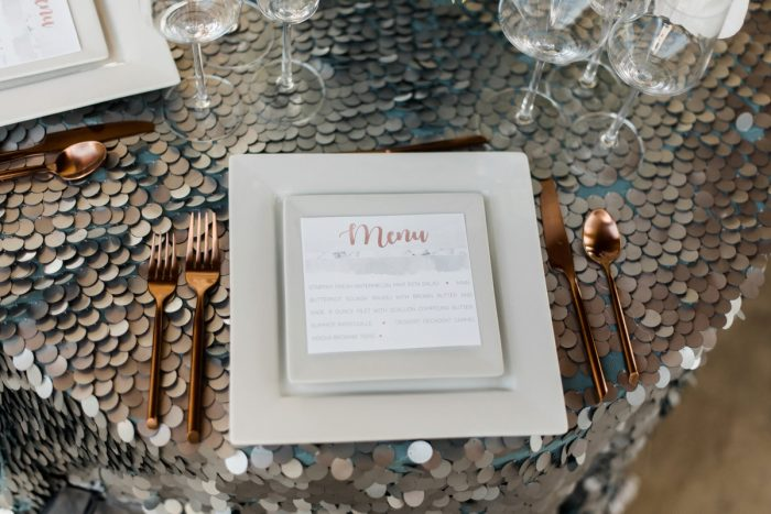 Wedding Menu Cards: Modern Minimalist Inspired Wedding Styled Shoot from JPC Event Group and Dawn Derbyshire Photography
