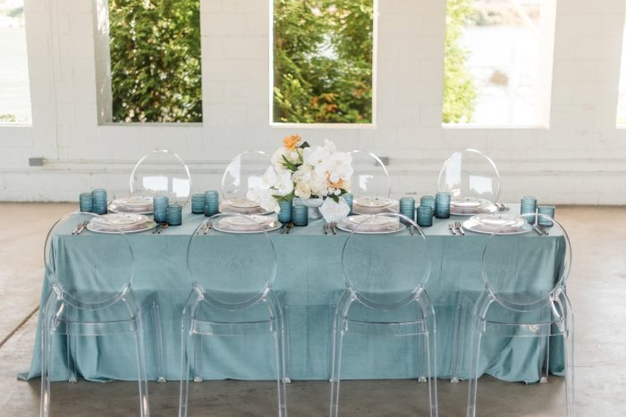 Blue and White Wedding Tablescape with Crystal Ghost Chairs: Modern Minimalist Inspired Wedding Styled Shoot from JPC Event Group and Dawn Derbyshire Photography