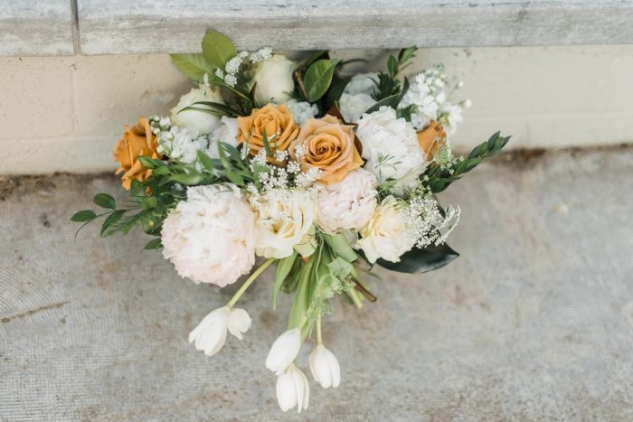 White and Orange Wedding Bouquet: Modern Minimalist Inspired Wedding Styled Shoot from JPC Event Group and Dawn Derbyshire Photography