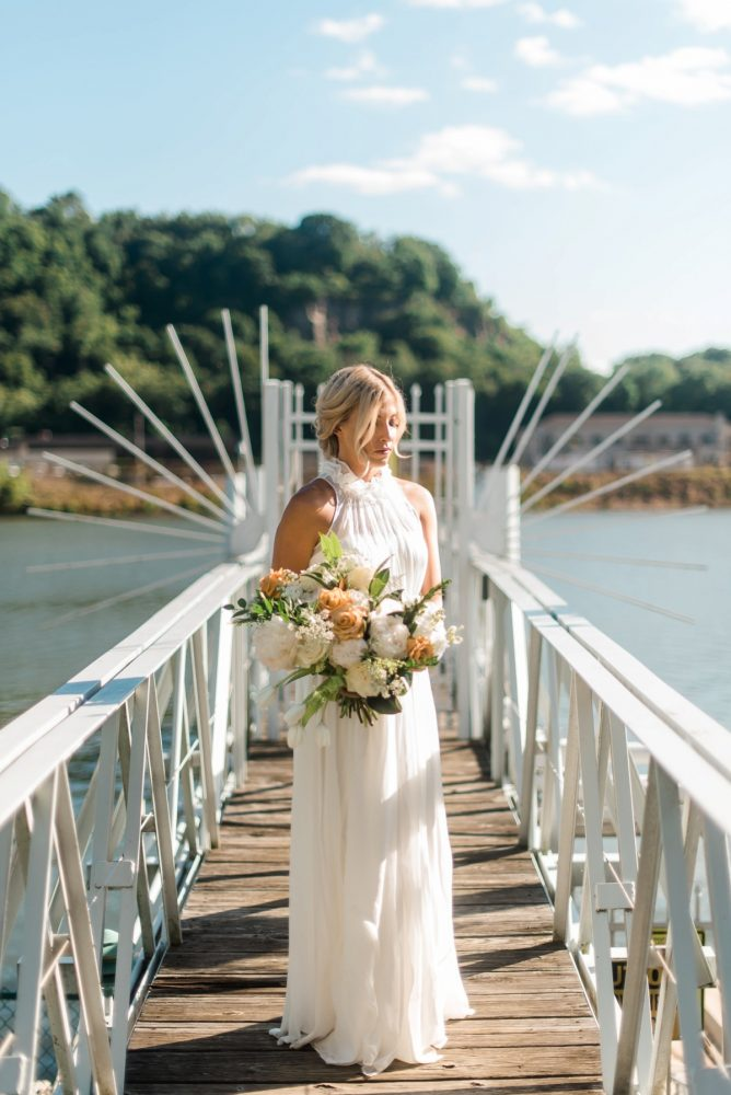 Halter Wedding Dress: Modern Minimalist Inspired Wedding Styled Shoot from JPC Event Group and Dawn Derbyshire Photography