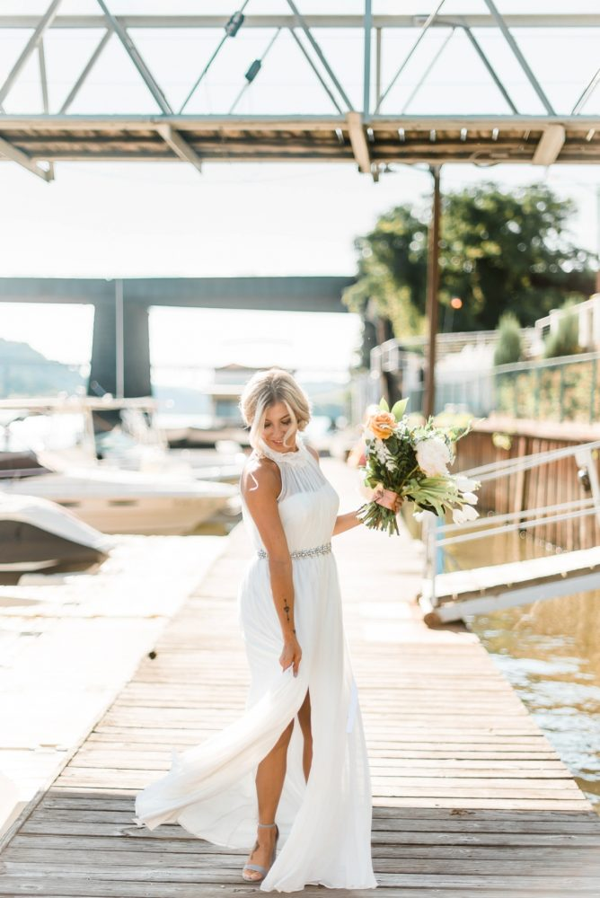 Halter Wedding Dress with Slit: Modern Minimalist Inspired Wedding Styled Shoot from JPC Event Group and Dawn Derbyshire Photography