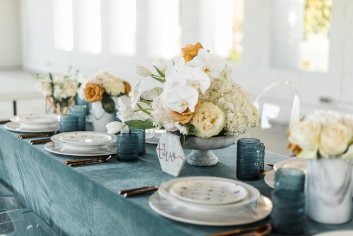 Blue, White, and Orange Wedding Tablescape: Modern Minimalist Inspired Wedding Styled Shoot from JPC Event Group and Dawn Derbyshire Photography