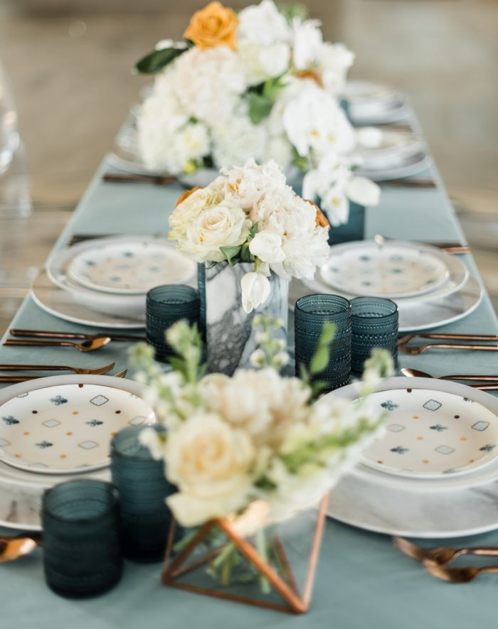 Blue and White Wedding Tablescape: Modern Minimalist Inspired Wedding Styled Shoot from JPC Event Group and Dawn Derbyshire Photography