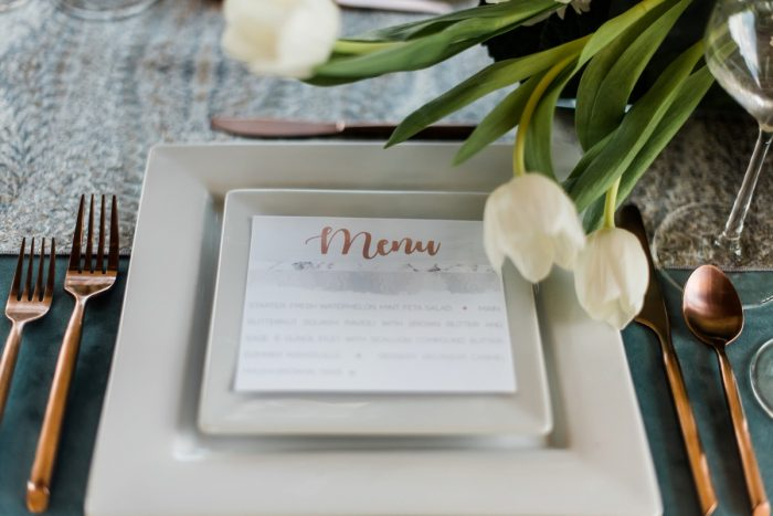 Wedding Menu Card: Modern Minimalist Inspired Wedding Styled Shoot from JPC Event Group and Dawn Derbyshire Photography
