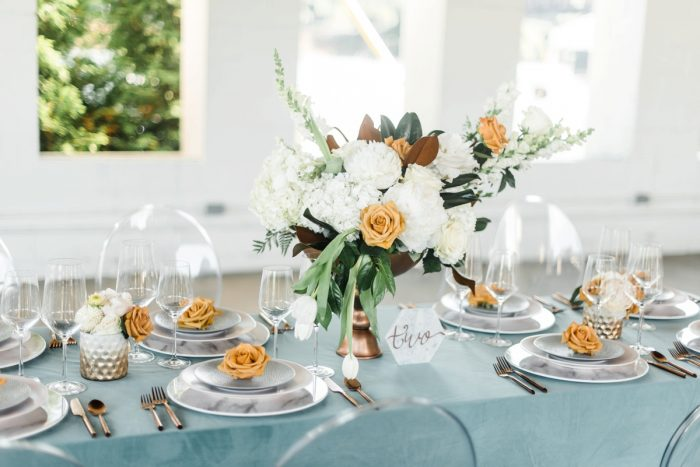 White and Orange Wedding Flowers: Modern Minimalist Inspired Wedding Styled Shoot from JPC Event Group and Dawn Derbyshire Photography