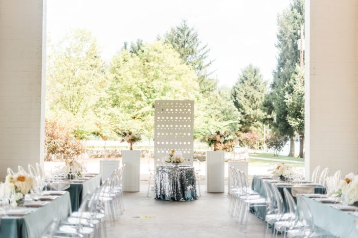 Outdoor Wedding Reception Ideas: Modern Minimalist Inspired Wedding Styled Shoot from JPC Event Group and Dawn Derbyshire Photography