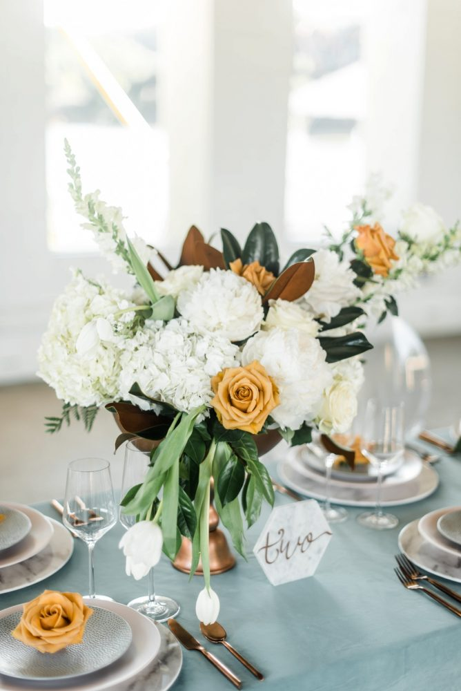 Orange and White Wedding Flowers: Modern Minimalist Inspired Wedding Styled Shoot from JPC Event Group and Dawn Derbyshire Photography