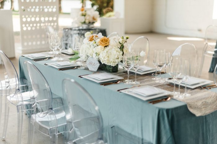 Wedding Tablescape with Teal Linens and Crystal Ghost Chairs: Modern Minimalist Inspired Wedding Styled Shoot from JPC Event Group and Dawn Derbyshire Photography