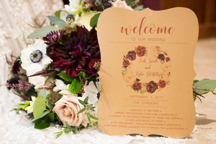 Floral Craft Paper Wedding Invitations: Rustic Glam Wedding at Seven Springs from Simply Kacie Photography featured on Burgh Brides
