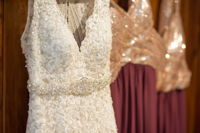 Lace Wedding Dress with Beaded Belt: Rustic Glam Wedding at Seven Springs from Simply Kacie Photography featured on Burgh Brides