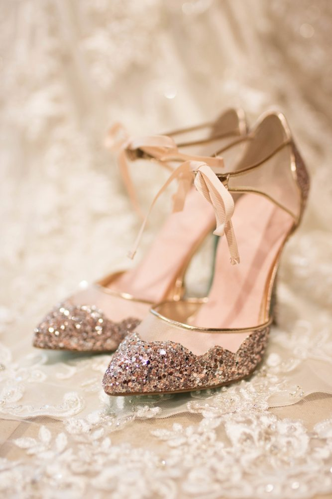 Rose Gold Glitter Wedding Shoes for Brides: Rustic Glam Wedding at Seven Springs from Simply Kacie Photography featured on Burgh Brides