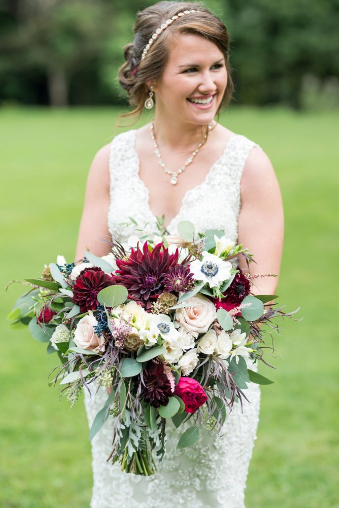 Dark Red and Pink Bridal Wedding Bouquet: Rustic Glam Wedding at Seven Springs from Simply Kacie Photography featured on Burgh Brides