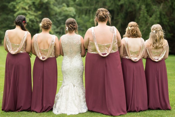 Rose Gold Sequin Bridesmaids Dresses: Rustic Glam Wedding at Seven Springs from Simply Kacie Photography featured on Burgh Brides