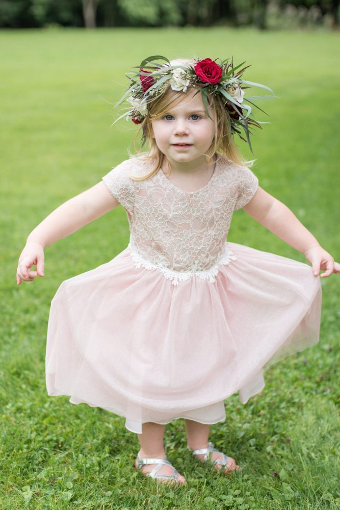 Flower Girl with Flower Crown: Rustic Glam Wedding at Seven Springs from Simply Kacie Photography featured on Burgh Brides