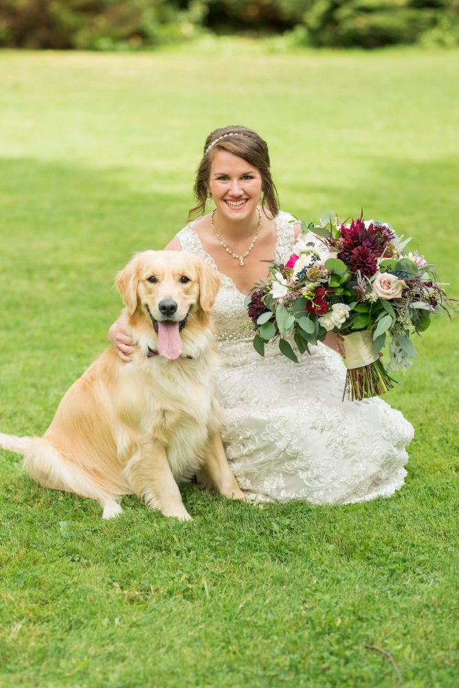 Bridal Portraits with Dog: Rustic Glam Wedding at Seven Springs from Simply Kacie Photography featured on Burgh Brides