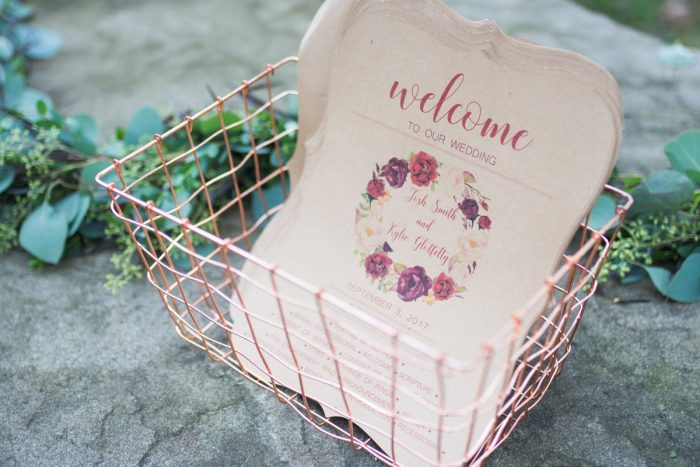Floral Craft Paper Wedding Ceremony Programs: Rustic Glam Wedding at Seven Springs from Simply Kacie Photography featured on Burgh Brides