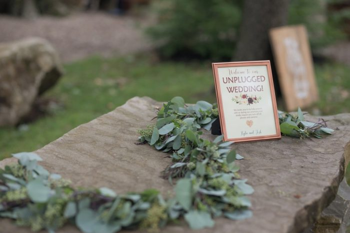 Unplugged Wedding Ceremony Sign: Rustic Glam Wedding at Seven Springs from Simply Kacie Photography featured on Burgh Brides