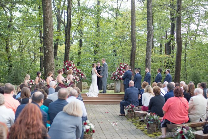 Outdoor Woodsy Wedding Ceremony Ideas: Rustic Glam Wedding at Seven Springs from Simply Kacie Photography featured on Burgh Brides