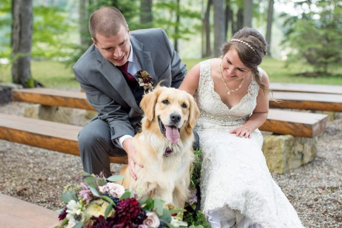 Bride and Groom with Dog on Wedding Day: Rustic Glam Wedding at Seven Springs from Simply Kacie Photography featured on Burgh Brides
