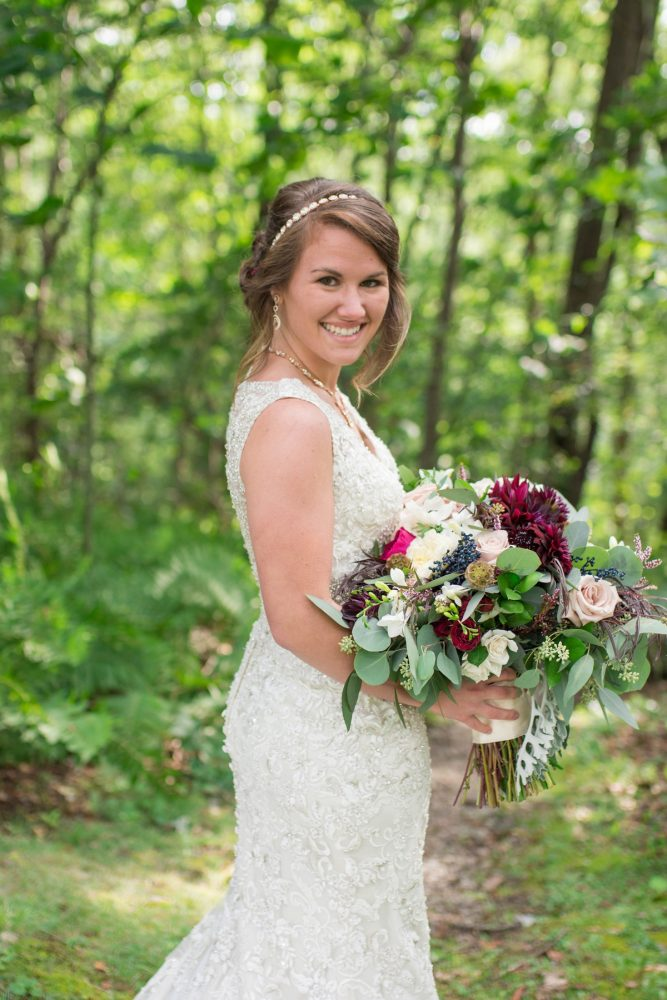 Dark Red, Pink, and White Bridal Wedding Bouquet: Rustic Glam Wedding at Seven Springs from Simply Kacie Photography featured on Burgh Brides