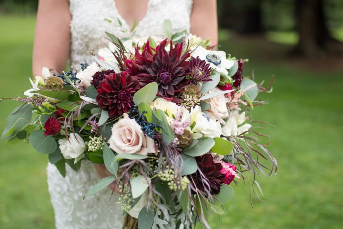 Marsala, White, and Pink Bridal Wedding Bouquet: Rustic Glam Wedding at Seven Springs from Simply Kacie Photography featured on Burgh Brides