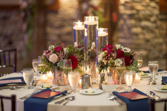 Candles and Flowers Wedding Centerpieces: Rustic Glam Wedding at Seven Springs from Simply Kacie Photography featured on Burgh Brides